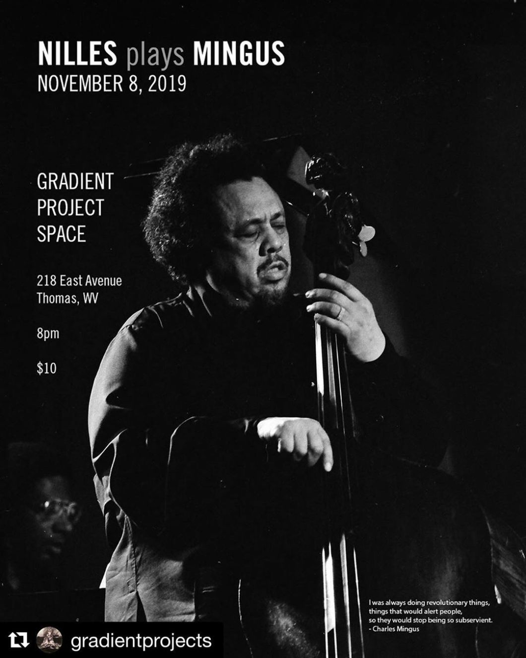It pains me to miss this. ・・・ Tonight!  Stephanie Nilles plays Charles Mingus at GPS.  8pm / 10$. Stephanie Nilles comes home to Thomas to play a program of the music of Charles Mingus. Stephanie started dipping into the works of this monstrous composer back in 2008, and has returned to his songs intermittently since, each time leaving them behind feeling like a lightweight exiting the boxing ring, defeated. Tonight she attempts yet again to approach them, this time solo, in preparation for a December recording project in Germany.