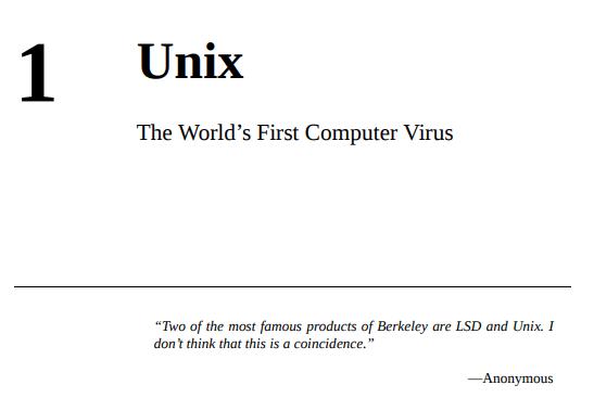 Chapter 1: Unix - The World's First Computer Virus