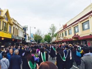 Street flooded with graduates