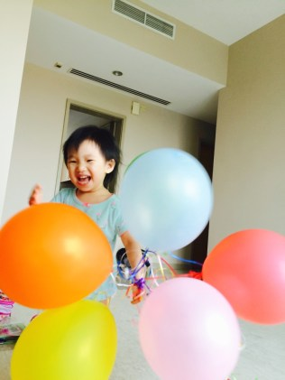 Elated with balloons