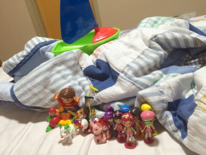 Toys on bed