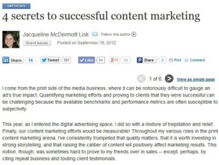"""4 secrets to successful content marketing,"" iMedia Connection"