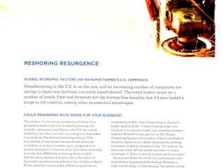 """Reshoring Resurgence,"" The Hartford/Inc. Magazine"