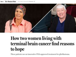 """How two women living with terminal brain cancer find reasons to hope""/Boston Globe BrandLab"