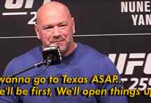 Dana White says UFC will likely be first to expose coronary heart's contents to Texas crowds