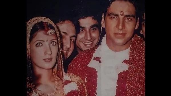 दुर्लभ!  अक्षय कुमार की अनदेखी शादी की तस्वीरें वायरल;  दुल्हन ट्विंकल खन्ना का सिर सिंधुर से लदा है