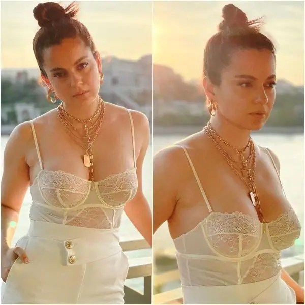Dhaakad wrap up party: Kangana Ranaut steams up the internet with her hottest avatar ever in a nude bralette and pants set – view pics