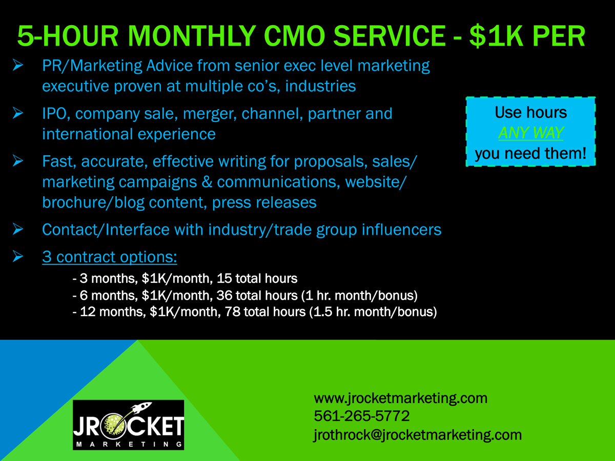 JRocket Marketing 5 Hour CMO Service