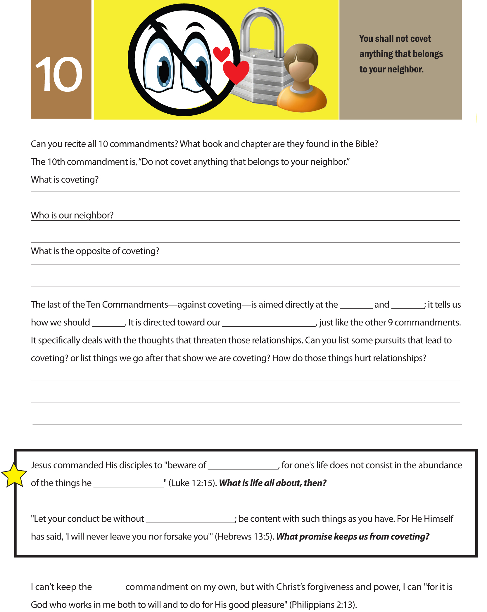 10 Commandments Graphics Worksheets Amp Curriculum For
