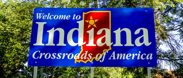 image of the welcome to indiana sign in the united states