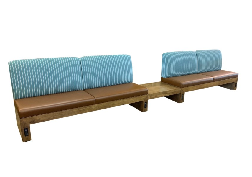 Custom Double Banquette with Power (1)