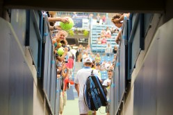 Andy Roddick exits a tunnel at the Linder Family Tennis Center in Mason, Ohio.