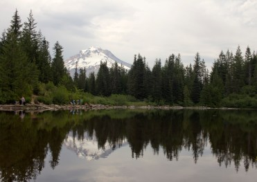 The reflection of Mount Hood in Mirror Lake, which sits about 1.5 miles off U.S. 26 near Government Camp, Oregon.