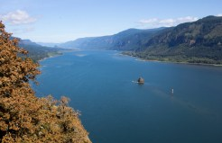 The Columbia River separates Oregon and Washington near Portland.