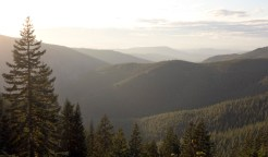 Sprawling mountains and hills can be seen from a trailhead in the Silver Star Scenic Area near Battle Ground, Washington.