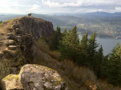 Angel's Rest offers a scenic view of the Columbia River, which separates Oregon and Washington near Portland.