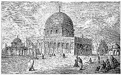Sketsa Masjid Kubah Emas di Yerusalem, Palestina.