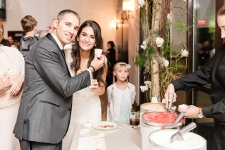 bride and groom at the ice cream station