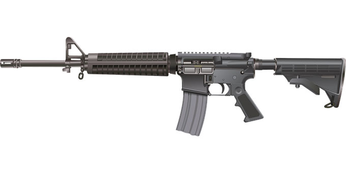 Full view popular of popular ghost gun, AR 15.