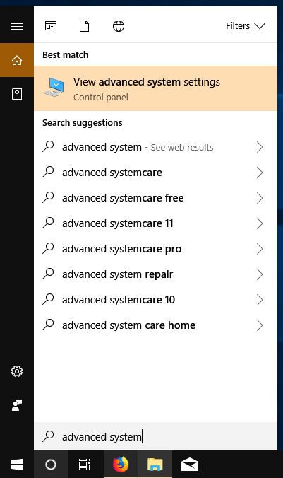 Search Cortana: advanced system settings