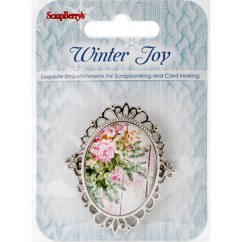 Scrapberrys Winter Joy Metal Embellishment Winter Flowers