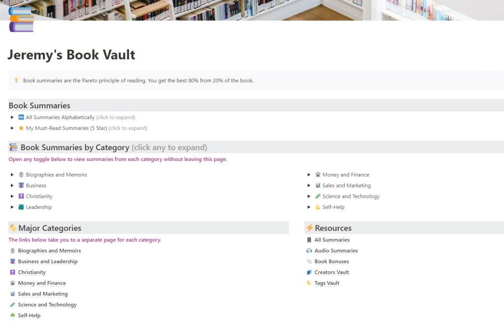 Jeremy's Book Vault Dashboard