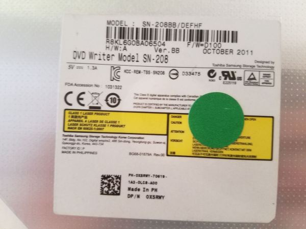 Dell Latitude E5420 CD-RW/DVD+RW Writer Drive SN-208 X5RWY