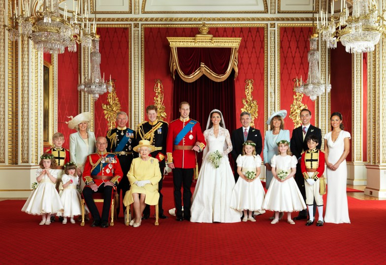 The Royal Wedding Group in the Throne Room at Buckingham Palace on 29th April 2011 with the Bride and Groom, TRH The Duke and Duchess of Cambridge in the centre. Front row (left to right): Miss Grace van Cutsem, Miss Eliza Lopes, HRH The Duke of Edinburgh, HM The Queen, The Hon. Margarita Armstrong-Jones, Lady Louise Windsor, Master William Lowther-Pinkerton. Back Row (left to right): Master Tom Pettifer, HRH The Duchess of Cornwall, HRH The Prince of Wales, HRH Prince Henry of Wales, Mr Michael Middleton, Mrs Michael Middleton, Mr James Middleton, Miss Philippa Middleton. Picture Credit: Photograph by Hugo Burnand