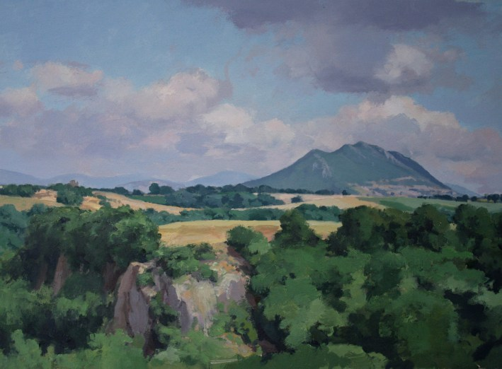 0037 Kurt Moyer2013 View of Mt. Soratte 15x22.25 oil on paper mounted to wood