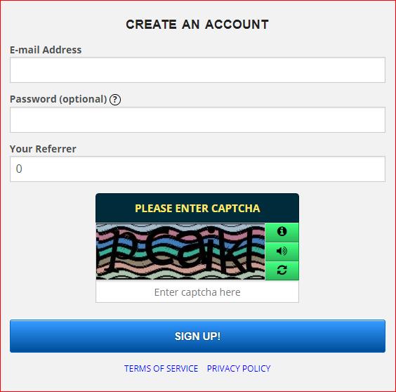 FreeBitcoin Formulario de registro