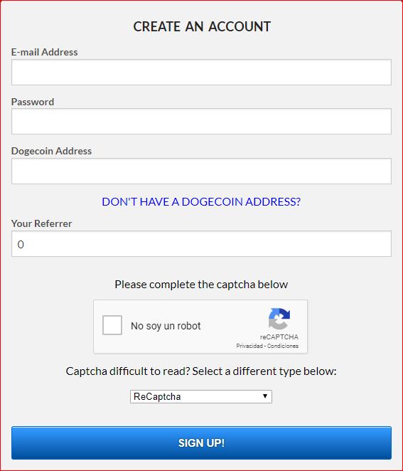 FreeDogecoin Formulario de registro
