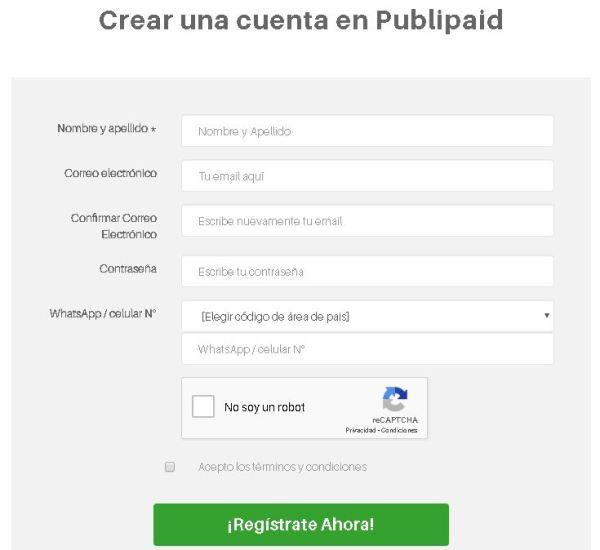 PubliPaid Formulario de registro
