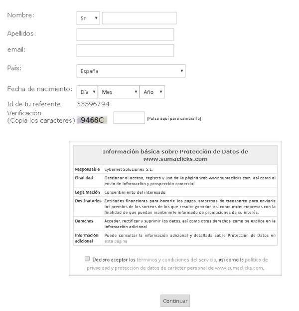 SumaClicks Formulario de registro