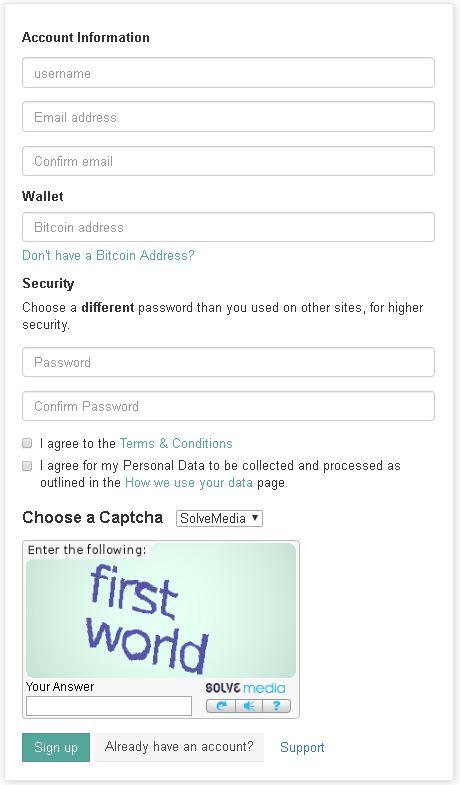 FaucetHub Formulario de registro