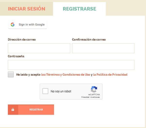 Shortest Formulario de registro