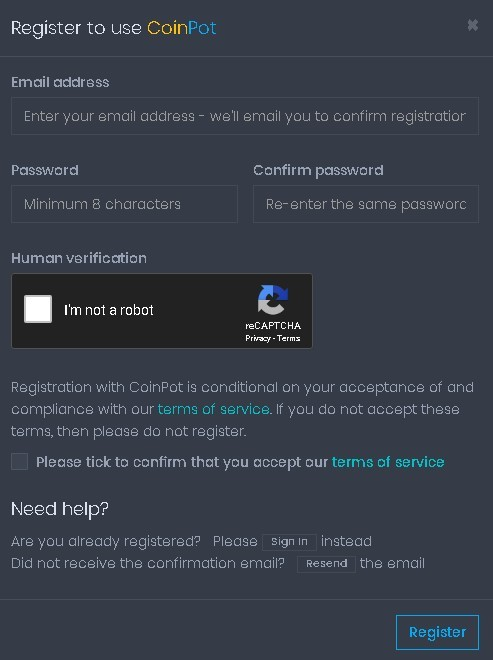 Coinpot Formulario de registro