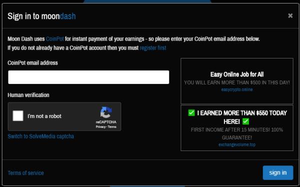 MoonDash formulario de registro