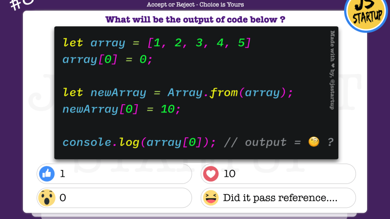 JavaScript Quiz – Did really the reference pass using Array.from() method