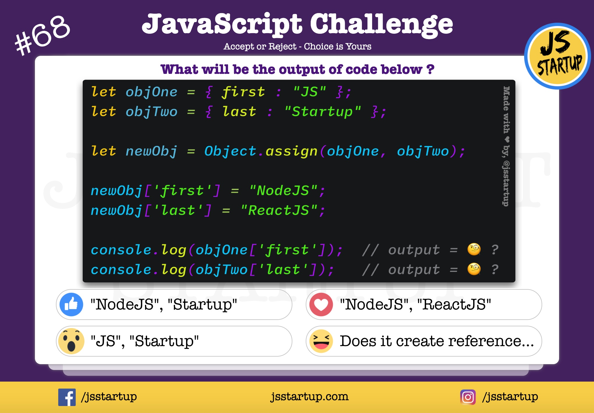 JavaScript Quiz – Did the object assign method really pass reference