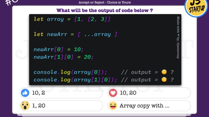 JavaScript Quiz – Does nested array reference removed by spread syntax