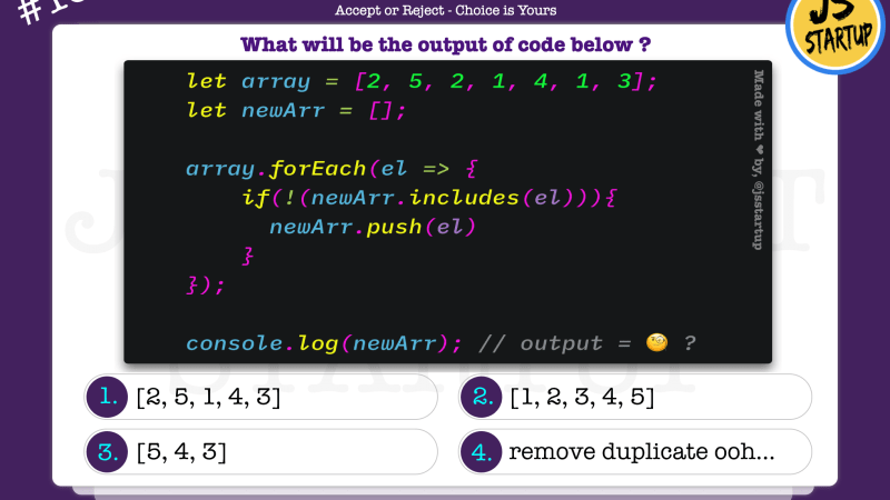 JavaScript Quiz – includes method can really remove duplicates with forEach