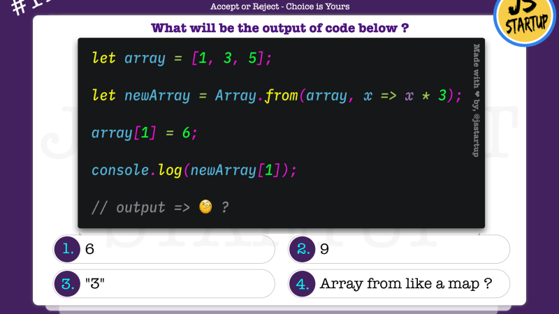 JavaScript Quiz – can array from method be like a map method