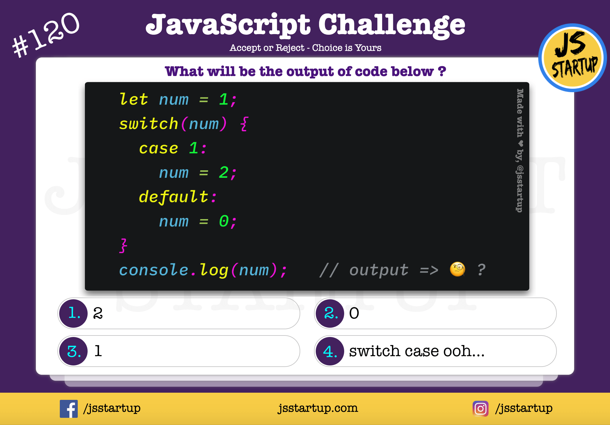 JavaScript Quiz – switch case can change a variable value