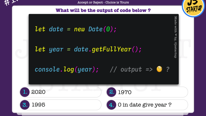 JavaScript Quiz – zero date can give get full year method