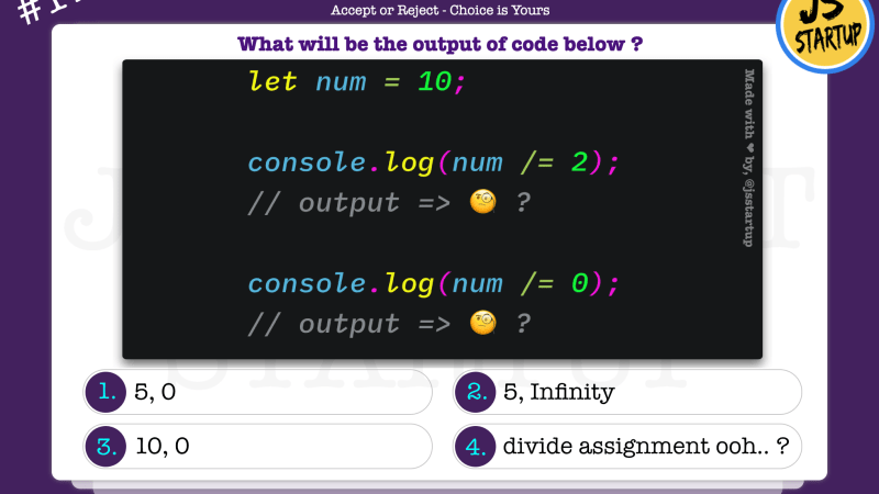 JavaScript Quiz – can divide assignment operator work in one go