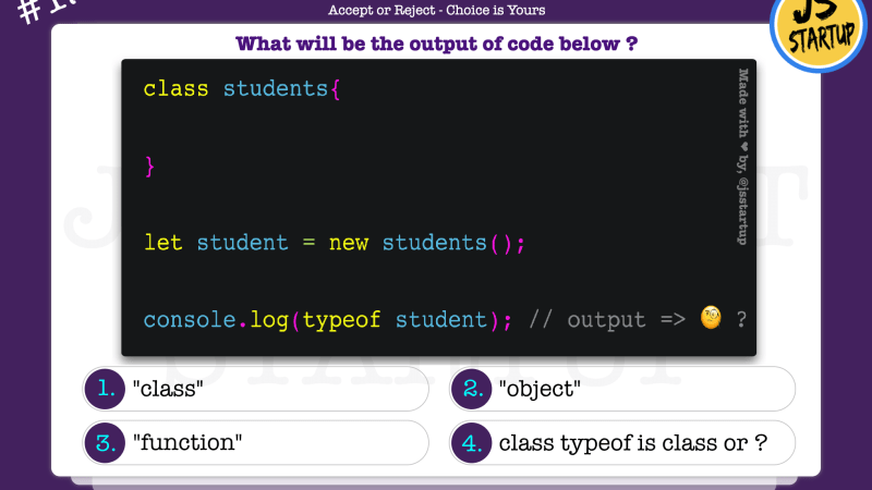 JavaScript Quiz – does class typeof operator give class