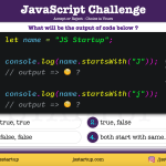 JavaScript Quiz - does the string startsWith() method return true - JS Startup