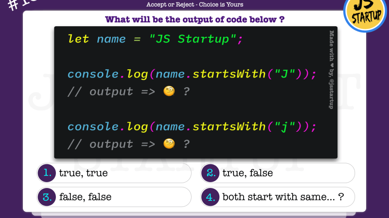 JavaScript Quiz – does the string startsWith() method return true