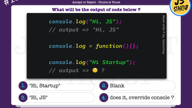 JavaScript Quiz – is the console log function really override