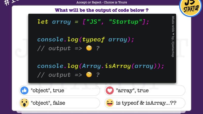 JavaScript Quiz – isArray method and typeof intend is different